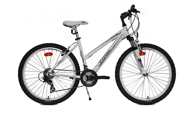 Bicicleta femei, cu cadrul de aluminiu, echipare Shimano, 2 ani garantie in Magazinele Doua Roti.</p><p>Cu raport pret calitate excelent aceasta bicicleta de munte pentru fete este unul din modelele cele mai vandute din Romania.</p><p><strong>Cadru:</strong> Aluminiu</p><p><strong>Furca:</strong> SF M3020 T 63mm</p><p><strong>Cuvetarie:</strong>VP-MH501</p><p><strong>Pedalier:</strong>Prowheel MA-P503 170 cu 3 foi</p><p><strong>Monobloc:</strong>BB Cartridge Thun Jive</p><p><strong>Pedale:</strong>PVC Xerama</p><p><strong>Pinioane:</strong>Shimano MF TZ07 7 speed</p><p><strong>Lant:</strong> 21 viteze</p><p><strong>Schimbator spate</strong>: Shimano TX35</p><p><strong>Schimbator fata</strong>:Shimano TX50</p><p><strong>Manete schimbator</strong>:Shimano EF51-7</p><p><strong>Manete frana</strong>: Shimano EF51-7</p><p><strong>Frana fata:</strong>V-brake Promax</p><p><strong>Frana spate:</strong>V-brake Promax</p><p><strong>Jante:</strong>Crosser X-Alt X2</p><p><strong>Butuc fata:</strong>Joy Tech</p><p><strong>Butuc spate</strong>:Joy Tech</p><p><strong>Anvelope:</strong>Kenda 26x1.95 K849</p><p><strong>Ghidon:</strong>HL MTB 600mm</p><p><strong>Pipa ghidon</strong>:HL MTS 90mm</p><p><strong>Sa</strong>:Active</p><p><strong>Tija sa:</strong>HL 27.2x300mm</p><p>