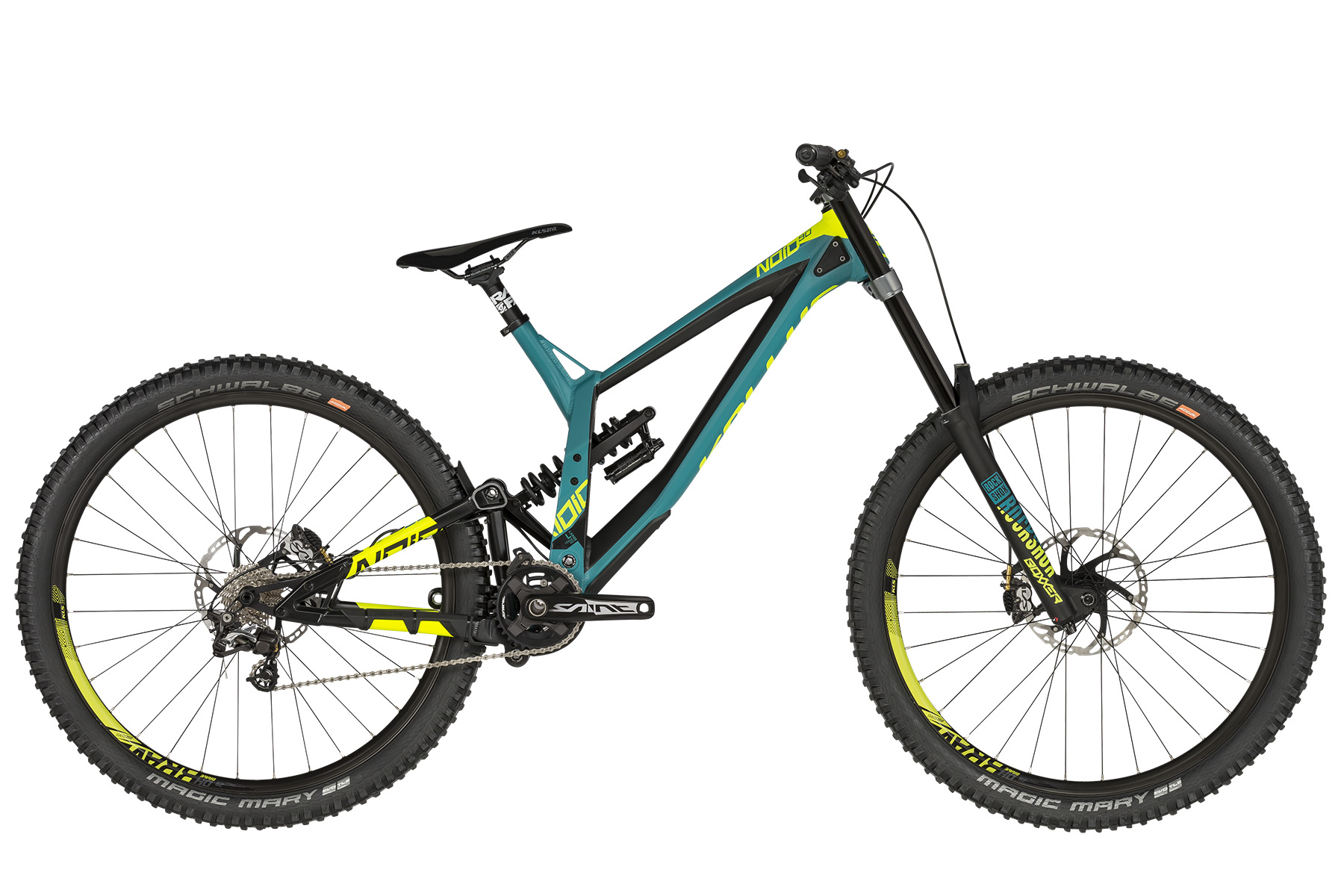 "<strong>Bicicleta full suspension </strong>cu telescop fata ROCK SHOX Boxxer World Cup DebonAir (29) Boost, 200mm si telescop spate Rock Shox Super Deluxe Coil RC / Rapid Recovery (250x75mm).</p><p><strong>Bicicleta downhill </strong>cu echipare Shimano Saint si roti de 29"".</p><p><strong>frame</strong> KELLYS Gravity DH 29 / Think Link suspension system, 205mm rear travel, internal routing, ISCG 05, 12x150mm thru axle<br /><strong>frame size</strong> L<br /><strong>fork</strong> ROCK SHOX Boxxer World Cup DebonAir (29) Boost, 200mm, Charger Damper 2 RC2 / Maxle Stealth 20mm thru axle<br /><strong>rear shock</strong> Rock Shox Super Deluxe Coil RC / Rapid Recovery (250x75mm)<br /><strong>head parts</strong> FSA 1.5 integrated<br /><strong>b.b.parts</strong> SHIMANO Press-Fit BB71-41A<br /><strong>crankset</strong> SHIMANO Saint M825 Hollowtech II (34) - length 165mm<br /><strong>shifters</strong> SHIMANO Zee SL-M640 Rapidfire Plus (rear)<br /><strong>f/derailleur</strong> chain guide MOZARTT HXR, ISCG 05<br /><strong>r/derailleur</strong> SHIMANO Saint M820 (direct mount)<br /><strong>speed</strong> 10<br /><strong>cassette sprocket</strong> SHIMANO CS-HG500-10 (11-25)<br /><strong>chain</strong> KMC X10EL (102 links)<br /><strong>brakes</strong> SHIMANO Saint M820 Hydraulic Disc<br /><strong>brake rotors</strong> 203mm front / 203mm rear<br /><strong>brake levers</strong> SHIMANO Saint BL-M820<br /><strong>hubs</strong> NOVATEC DH Disc (20x110mm / 12x150mm / 32 holes)<br /><strong>thru axle</strong> ROCK SHOX Maxle Stealth 20x110mm front / Mr.CONTROL 12x150mm rear<br /><strong>rims</strong> KLS Brave Disc 622x23 (32 holes)<br /><strong>spokes</strong> stainless steel black<br /><strong>tires</strong> SCHWALBE Magic Mary 60-584 (27.5x2.35) SnakeSkin, Tubeless Easy, ADDIX Soft, folding<br /><strong>stem</strong> RACE FACE Atlas DM - direct mount / bar bore 31.8mm<br /><strong>handlebar</strong> RACE FACE Atlas RiseBar - diam 31.8mm / width 785mm<br /><strong>grips</strong> KLS Poison<br /><strong>seat post</strong> RACE FACE Chester - diam 30.9mm / length 325mm<br /><strong>saddle</strong> KLS Styx"