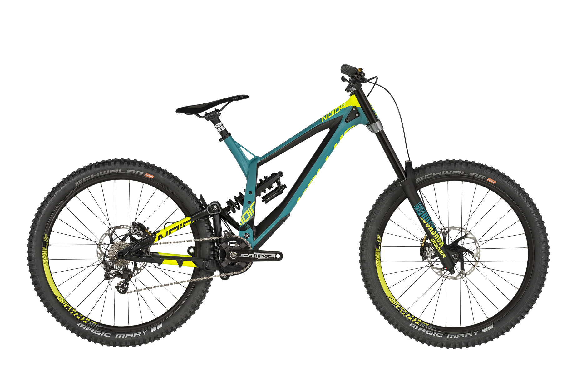 <strong>Bicicleta full suspension </strong>cu telescop fataROCK SHOX Boxxer World Cup DebonAir (27.5) Boost, 200mm si telescop spateROCK SHOX Super Deluxe Coil RC.</p><p><strong>Bicicleta downhill </strong>cu frane hidraulice Shimano Saint si schimbator de spate de 10 viteze Shimano Saint.</p><p><strong>frame</strong>KELLYS Gravity DH 27.5 / Think Link suspension system, 205mm rear travel, internal routing, ISCG 05, 12x150mm thru axle<br /><strong>frame size</strong>M / L / XL<br /><strong>fork</strong>ROCK SHOX Boxxer World Cup DebonAir (27.5) Boost, 200mm, Charger Damper 2 RC2 / Maxle Stealth 20mm thru axle<br /><strong>rear shock</strong>ROCK SHOX Super Deluxe Coil RC / Rapid Recovery (250x75mm)<br /><strong>head parts</strong>FSA 1.5 integrated<br /><strong>b.b.parts</strong>SHIMANO Press-Fit BB71-41A<br /><strong>crankset</strong>SHIMANO Saint M825 Hollowtech II (34) - length 165mm<br /><strong>shifters</strong>SHIMANO Zee SL-M640 Rapidfire Plus (rear)<br /><strong>f/derailleur</strong>chain guide MOZARTT HXR, ISCG 05<br /><strong>r/derailleur</strong>SHIMANO Saint M820 (direct mount)<br /><strong>speed</strong>10<br /><strong>cassette sprocket</strong>SHIMANO CS-HG500-10 (11-25)<br /><strong>chain</strong>KMC X10 EL (102 links)<br /><strong>brakes</strong>SHIMANO Saint M820 Hydraulic Disc<br /><strong>brake rotors</strong>203mm front / 203mm rear<br /><strong>brake levers</strong>SHIMANO Saint BL-M820<br /><strong>hubs</strong>NOVATEC DH Disc (20x110mm / 12x150mm / 32 holes)<br /><strong>thru axle</strong>ROCK SHOX Maxle Stealth 20x110mm front / Mr.CONTROL 12x150mm rear<br /><strong>rims</strong>KLS Brave Disc 584x23 (32 holes)<br /><strong>spokes</strong>stainless steel black<br /><strong>tires</strong>SCHWALBE Magic Mary 60-584 (27.5x2.35) SnakeSkin, Tubeless Easy, ADDIX Soft, folding<br /><strong>stem</strong>RACE FACE Atlas DM - direct mount / bar bore 31.8mm<br /><strong>handlebar</strong>RACE FACE Atlas RiseBar - diam 31.8mm / width 785mm<br /><strong>gr