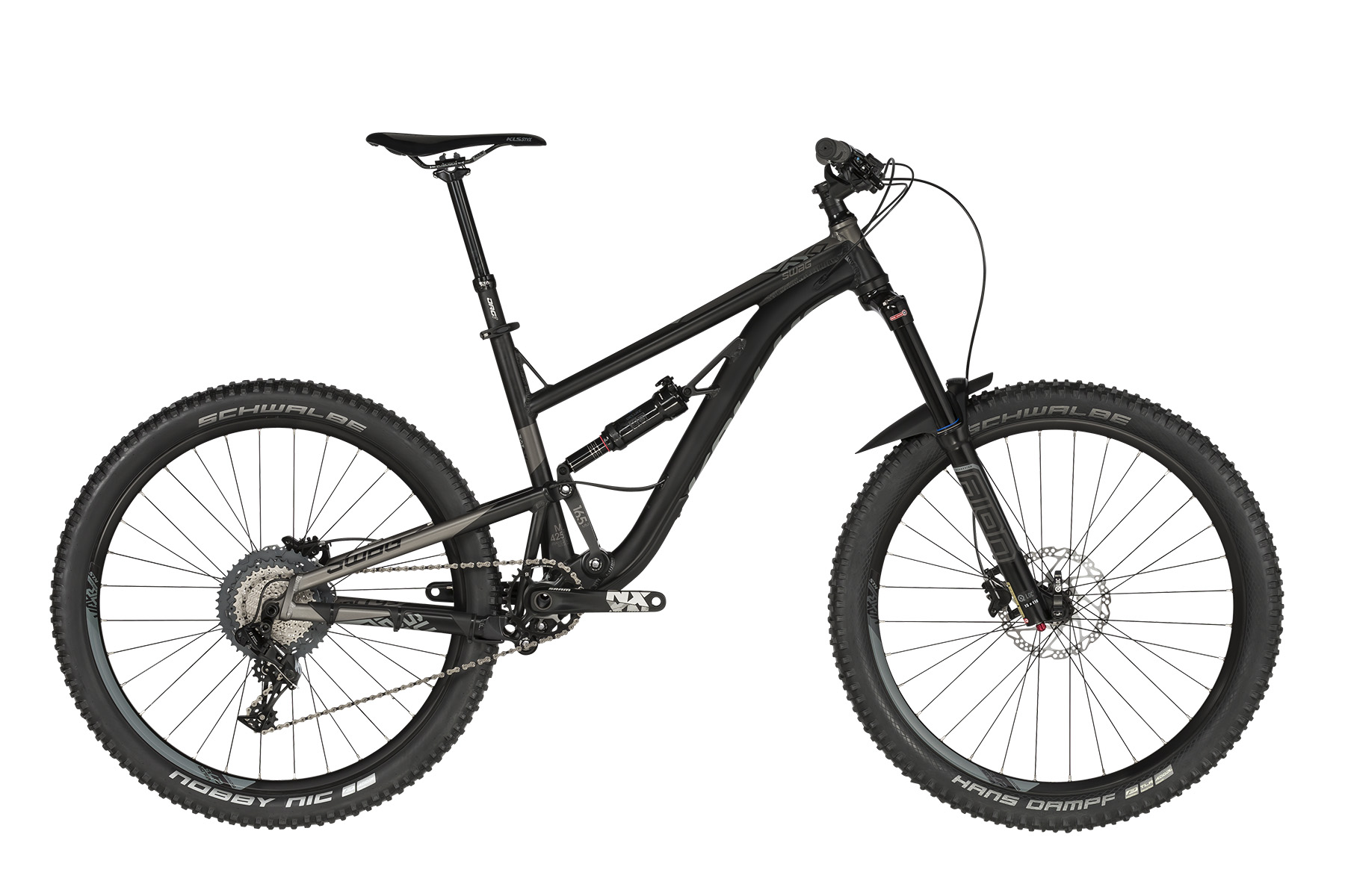 <strong>Bicicleta full suspension, </strong>cu telescop pe fata&nbsp;SR SUNTOUR Aion 35 LOR Boost, 160mm si telescop pe spate&nbsp;ROCK SHOX Deluxe RT, DebonAir / Rapid Recovery / Open-Pedal (230x65mm).</p><p><strong>Bicicleta de munte cu echipare&nbsp;SRAM NX,</strong> 11 viteze, o bicicleta recomandata pentru cei ce doresc sa experimenteze senzatii tari.</p><p><strong>frame</strong>&nbsp;KELLYS Enduro 27.5 / Think Link suspension system, 165mm rear travel, tapered HT, internal routing, 12x148mm Boost thru axle<br /><strong>frame size</strong>&nbsp;S / M / L<br /><strong>fork</strong>&nbsp;SR SUNTOUR Aion 35 LOR (27.5) Boost, 160mm, air / Speed Lockout / 15Q-Loc thru axle<br /><strong>rear shock</strong>&nbsp;ROCK SHOX Deluxe RT, DebonAir / Rapid Recovery / Open-Pedal (230x65mm)<br /><strong>head parts</strong>&nbsp;FSA 1.5 integrated<br /><strong>b.b.parts</strong>&nbsp;SRAM PressFit GXP<br /><strong>crankset</strong>&nbsp;SRAM NX 1x X-Sync (30) - length 175mm<br /><strong>shifters</strong>&nbsp;SRAM NX 11-Speed X-Actuation Trigger<br /><strong>r/derailleur</strong>&nbsp;SRAM NX 1x11 X-Horizon<br /><strong>speed</strong>&nbsp;11<br /><strong>cassette sprocket</strong>&nbsp;SHIMANO CS-M7000-11 (11-46)<br /><strong>chain</strong>&nbsp;KMC X11 (110 links)<br /><strong>brakes</strong>&nbsp;SHIMANO MT400 Hydraulic Disc<br /><strong>brake rotors</strong>&nbsp;180mm front / 180mm rear<br /><strong>brake levers</strong>&nbsp;SHIMANO BL-MT400<br /><strong>hubs</strong>&nbsp;SHIMANO MT400-B Disc Center Lock (15x110mm / 12x148mm / 32 holes)<br /><strong>thru axle</strong>&nbsp;SR SUNTOUR Q-Loc 15x110mm front / Mr.CONTROL 12x148mm rear<br /><strong>rims</strong>&nbsp;KLS Valor 2 Disc 584x27 (32 holes)<br /><strong>spokes</strong>&nbsp;stainless steel black<br /><strong>tires</strong>&nbsp;SCHWALBE Hans Dampf Performance 60-584 (27.5x2.35) Tubeless Ready, ADDIX, folding front / SCHWALBE Nobby Nic Performance 60-584 (27.5x2.35) ADDIX, folding rear<br /><strong>stem</strong>&nbs
