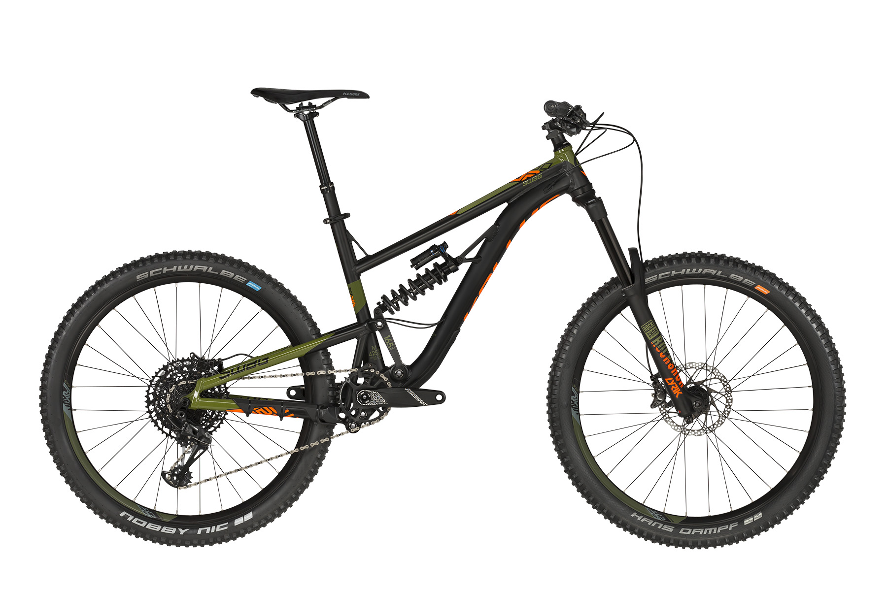 <strong>Bicicleta full suspension </strong>cu telescop pe fataROCK SHOX Lyrik RC si telescop pe spateROCK SHOX Super Deluxe Coil RCT.</p><p><strong>Bicicleta enduro </strong>cu frane hidraulice Deore XT si schimbator de spateSRAM GX Eagle de 12 viteze.</p><p><strong>frame</strong>KELLYS Enduro 27.5 / Think Link suspension system, 165mm rear travel, tapered HT, internal routing, 12x148mm Boost thru axle<br /><strong>frame size</strong>S / M / L<br /><strong>fork</strong>ROCK SHOX Lyrik RC (27.5) Boost, 170mm, DebonAir / Charger 2 Damper / Maxle Stealth 15mm thru axle<br /><strong>rear shock</strong>ROCK SHOX Super Deluxe Coil RCT, coil / Rapid Recovery / Open-Pedal (230x65mm)<br /><strong>head parts</strong>FSA 1.5 integrated<br /><strong>b.b.parts</strong>SRAM DUB PressFit<br /><strong>crankset</strong>TRUVATIV Descendant 6K Eagle DUB 1x X-Sync 2 (32) - length 175mm<br /><strong>shifters</strong>SRAM GX Eagle Trigger<br /><strong>f/derailleur</strong>chain guide MOZARTT HXR, ISCG 05<br /><strong>r/derailleur</strong>SRAM GX Eagle<br /><strong>speed</strong>12<br /><strong>cassette sprocket</strong>SRAM PG-1230-12 Eagle (11-50)<br /><strong>chain</strong>SRAM GX Eagle (112 links)<br /><strong>brakes</strong>SHIMANO Deore XT M8000 Hydraulic Disc<br /><strong>brake rotors</strong>180mm front / 180mm rear<br /><strong>brake levers</strong>SHIMANO Deore XT BL-M8000<br /><strong>hubs</strong>NOVATEC Disc (15x110mm / 12x148mm / 32 holes)<br /><strong>thru axle</strong>ROCK SHOX Maxle Stealth 15x110mm front / Mr.CONTROL 12x148mm rear<br /><strong>rims</strong>KLS Valor 2 Disc 584x27 (32 holes)<br /><strong>tires</strong>SCHWALBE Hans Dampf 60-584 (27.5x2.35) SnakeSkin, Tubeless Easy, ADDIX Soft, folding front / Nobby Nic 60-584 (27.5x2.35) SnakeSkin, Tubeless Easy, ADDIX Speedgrip, folding rear<br /><strong>stem</strong>RACE FACE Aeffect R 35 - diam 28.6mm / bar bore 35mm / 0° / length 50mm<br /><strong>handlebar</strong>RACE FACE Aeffect R 35 RiseBar - diam 35mm / rise 20m