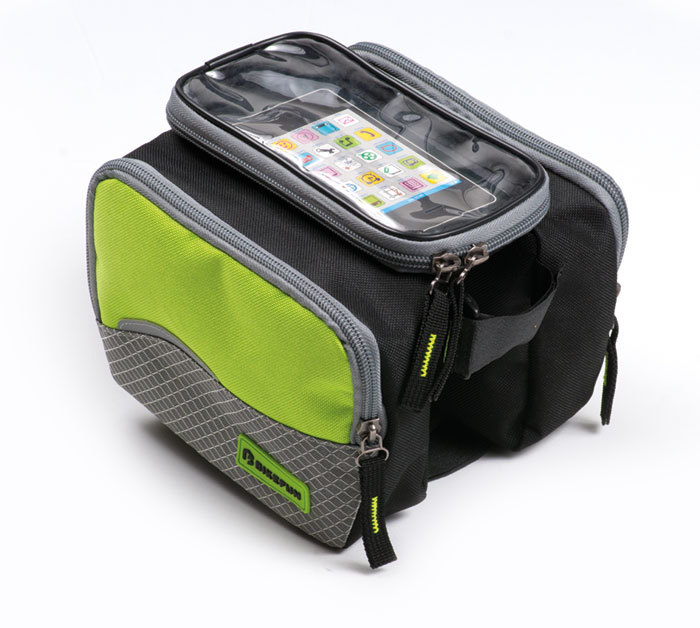 """Borseta cadru cu doua compartimente, suport telefon mobil/GPS.<span class=""""Apple-converted-space"""">&nbsp;</span></p><p>Material: 600D poliester, 420D nylon.<span class=""""Apple-converted-space"""">&nbsp;</span></p><p>Model compatibil cu ecranele multi-touch. Accepta telefon cu ecran pana la 5.5 inch. Se poate fixa cu benzi velcro de tubul frontal sau de tija sa.<span class=""""Apple-converted-space"""">&nbsp;</span></p><p>Insertie banda reflectorizanta, husa ploaie.</p><p>Marime: fiecare parte 17&times;5&times;13 cm + in mijloc suport telefon de 9 x 17 cm.</p><p>Capacitate: 2 l<span class=""""Apple-converted-space"""">&nbsp;</span></p><p><span class=""""Apple-converted-space"""">&nbsp;</span>"""