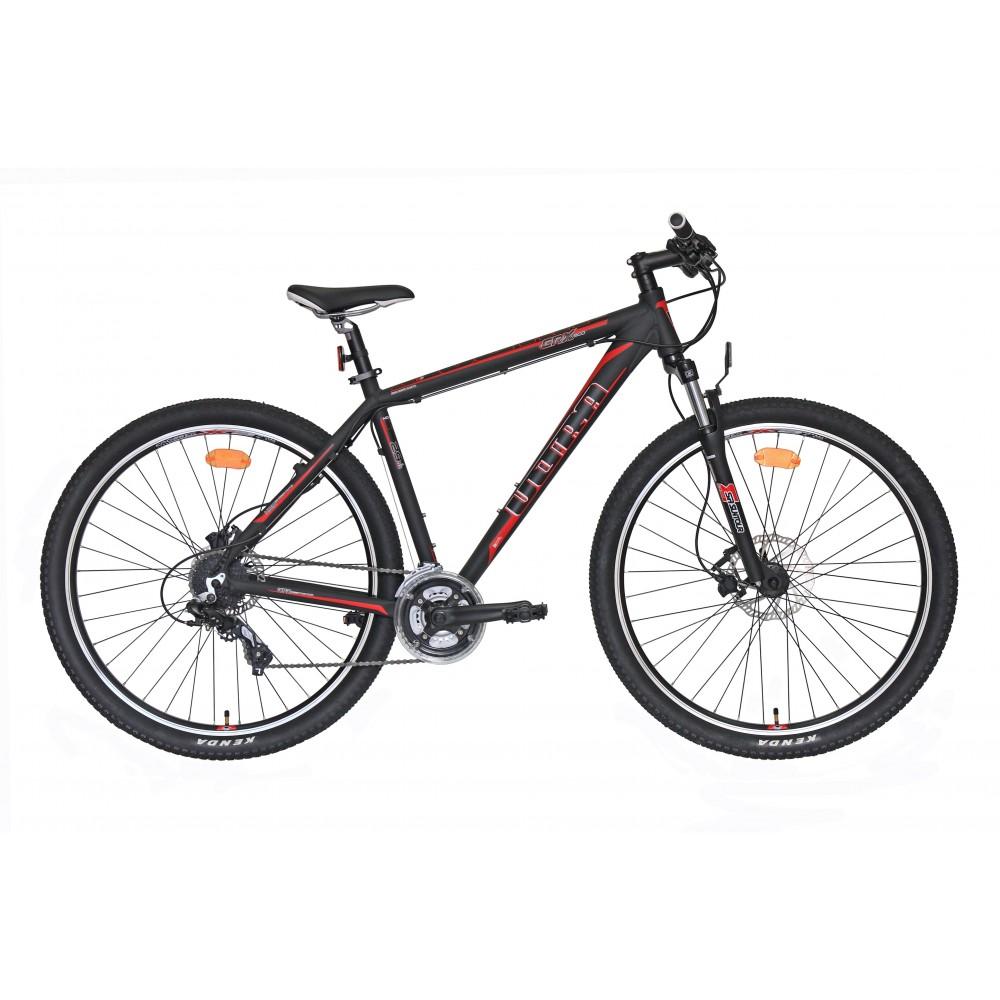 """Bicicleta cu roti de 29"""" cadrul din aluminiu si frane pe disc hydraulice !</p><p>&nbsp;</p><p>Cadru: &nbsp; &nbsp; &nbsp; &nbsp; &nbsp; &nbsp; &nbsp; &nbsp; &nbsp; &nbsp; &nbsp; &nbsp; Aluminiu 6061F</p><p>Furca: &nbsp; &nbsp; &nbsp; &nbsp; &nbsp; &nbsp; &nbsp; &nbsp; &nbsp; &nbsp; &nbsp; &nbsp; SUNTOUR SF14-M3030 Negru-Mat 100 mm</p><p>Manete schimbator:&nbsp;Shimano ALTUS ASLM310LB + ASLM310RA 3X8 VIT</p><p>Schimbator fata: &nbsp; &nbsp; &nbsp;Shimano SIS</p><p>Schimbator spate: &nbsp; Shimano ALTUS&nbsp;</p><p>Angrenaj: &nbsp; &nbsp; &nbsp; &nbsp; &nbsp; &nbsp; &nbsp; &nbsp; Shimano FC ALLOY PRO 3 / 42T 170</p><p>Monobloc: &nbsp; &nbsp; &nbsp; &nbsp; &nbsp; &nbsp; &nbsp; VP BC73C</p><p>Pedale: &nbsp; &nbsp; &nbsp; &nbsp; &nbsp; &nbsp; &nbsp; &nbsp; &nbsp; VP-872N</p><p>Pinioane: &nbsp; &nbsp; &nbsp; &nbsp; &nbsp; &nbsp; &nbsp; &nbsp;Shimano HG31&nbsp;</p><p>Lant: &nbsp; &nbsp; &nbsp; &nbsp; &nbsp; &nbsp; &nbsp; &nbsp; &nbsp; &nbsp; &nbsp; KMC Z72 &nbsp;&nbsp;</p><p>Frane: &nbsp; &nbsp; &nbsp; &nbsp; &nbsp; &nbsp; &nbsp; &nbsp; &nbsp; &nbsp;Tektro Draco hidraulic disc&nbsp;</p><p>Disc fata: &nbsp; &nbsp; &nbsp; &nbsp; &nbsp; &nbsp; &nbsp; 180 mm</p><p>Disc spate: &nbsp; &nbsp; &nbsp; &nbsp; &nbsp; &nbsp;160 mm&nbsp;</p><p>Jante: &nbsp; &nbsp; &nbsp; &nbsp; &nbsp; &nbsp; &nbsp; &nbsp; &nbsp; &nbsp; Crosser X2 622x19 mm&nbsp;</p><p>Butuc fata: &nbsp; &nbsp; &nbsp; &nbsp; &nbsp; &nbsp; Joytech&nbsp;</p><p>Butuc spate: &nbsp; &nbsp; &nbsp; &nbsp; &nbsp; Joytech</p><p>Pipa: &nbsp; &nbsp; &nbsp; &nbsp; &nbsp; &nbsp; &nbsp; &nbsp; &nbsp; &nbsp; &nbsp; ZOOM HL TDS-D364-8FOV</p><p>Ghidon: &nbsp; &nbsp; &nbsp; &nbsp; &nbsp; &nbsp; &nbsp; &nbsp; &nbsp;ZOOM HL-MTB AL-152FOV, aluminiu, dimensiune 31.8 mm, lungime 680 mm.&nbsp;</p><p>Tija sa: &nbsp; &nbsp; &nbsp; &nbsp; &nbsp; &nbsp; &nbsp; &nbsp; &nbsp; &nbsp;ZOOM SP-19, aluminiu</p><p>Sa: &nbsp; &nbsp; &nbsp; &nbsp; &nbsp; &nbsp; &nbsp; &nbsp; &nbsp; &nbsp; &nbsp; &nbsp; &nbsp;ACTIVE FMB-500D</p><p>Anvelope: &nbsp; &nbsp; &nb"""
