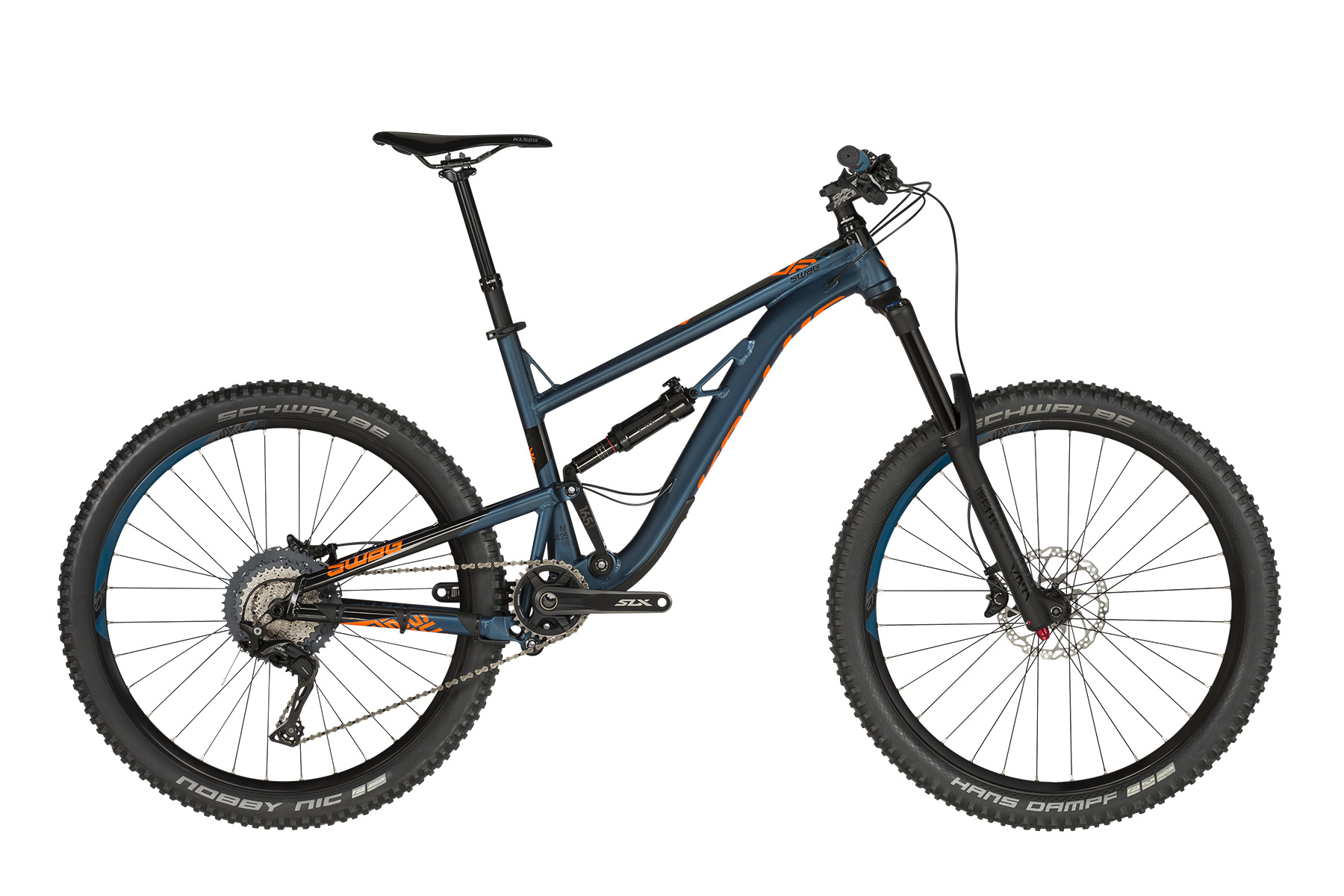 <strong>Bicicleta full suspension </strong>cu telescop fata ROCK SHOX Yari RC si telescop spate ROCK SHOX Deluxe RT.</p><p><strong>Bicicleta enduro cu echipare Shimano</strong> 11 viteze, schimbator de spate Deore XT.</p><p><strong>frame</strong> KELLYS Enduro 27.5 / Think Link suspension system, 165mm rear travel, tapered HT, internal routing, 12x148mm Boost thru axle<br /><strong>frame size</strong> S / M / L<br /><strong>fork</strong> ROCK SHOX Yari RC (27.5) Boost, 170mm, DebonAir / Motion Control RC / Maxle Stealth 15mm thru axle<br /><strong>rear shock</strong> ROCK SHOX Deluxe RT, DebonAir / Rapid Recovery / Open-Pedal (230x65mm)<br /><strong>head parts</strong> FSA 1.5 integrated<br /><strong>b.b.parts</strong> SHIMANO PressFit SM-BB71-41A<br /><strong>crankset</strong> SHIMANO SLX M7000-11-B1 Hollowtech II (30) - length 175mm<br /><strong>shifters</strong> SHIMANO SLX SL-M7000 I-spec II Rapidfire Plus<br /><strong>r/derailleur</strong> SHIMANO Deore XT M8000 (direct mount)<br /><strong>speed</strong> 11<br /><strong>cassette sprocket</strong> SHIMANO CS-M7000-11 (11-46)<br /><strong>chain</strong> KMC X11 (110 links)<br /><strong>brakes</strong> SHIMANO SLX M7000 Hydraulic Disc<br /><strong>brake rotors</strong> 180mm front / 180mm rear<br /><strong>brake levers</strong> SHIMANO SLX BL-M7000<br /><strong>hubs</strong> SHIMANO MT400-B Disc Center Lock (15x110mm / 12x148mm / 32 holes)<br /><strong>thru axle</strong> ROCK SHOX Maxle Stealth 15x110mm front / Mr.Control 12x148mm rear<br /><strong>rims</strong> KLS Valor 2 Disc 584x27 (32 holes)<br /><strong>spokes</strong> stainless steel black<br /><strong>tires</strong> SCHWALBE Hans Dampf Performance 60-584 (27.5x2.35) Tubeless Ready, ADDIX, folding front / SCHWALBE Nobby Nic Performance 60-584 (27.5x2.35) ADDIX, folding rear<br /><strong>stem</strong> RACE FACE Chester 35 - diam 28.6mm / bar bore 35mm / 0° / length 40mm (S), 60mm (M - L)<br /><strong>handlebar</strong> RACE FACE Chester 35 RiseBar - diam 35mm / rise 20mm / width 780mm<br /><strong>grips</strong> KLS Crypton<br /><strong>seat post</strong> KS - Remote Telescopic - diam 30.9mm / length 485mm, travel 150mm<br /><strong>saddle</strong> KLS Styx<br /><strong>pedals</strong> KLS Master